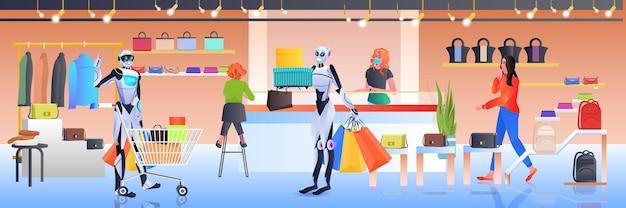 Робот с тележкой гуляет с покупками интерьер торгового центра технологии искусственного интеллекта