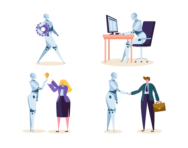 Robot work in office with people