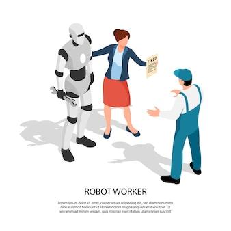 Робот-рабочий с женщиной-менеджером показывает знак уволенному работнику