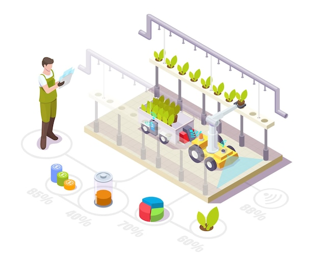 Robot working in greenhouse isometric farmer automated glasshouse with robotic arm smart farming ind...