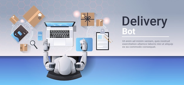 Robot working at laptop online shopping express shipping delivery bot service concept