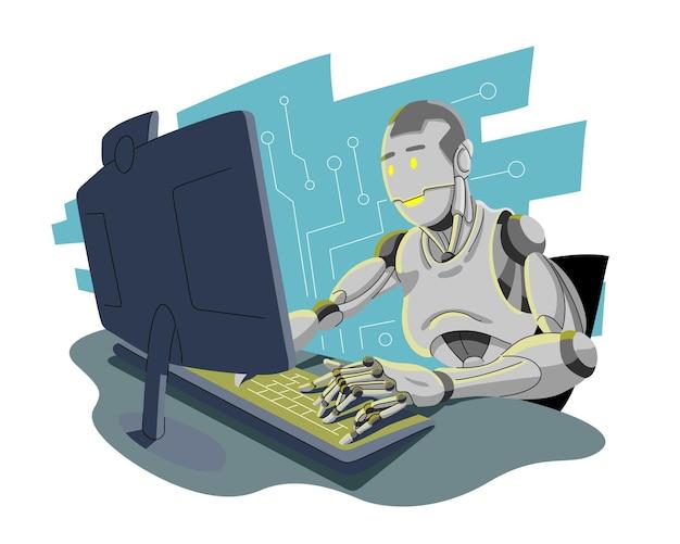 ロボットと人工知能の概念 Premiumベクター