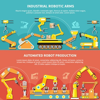 Robotic arm flat composition with industrial robotic arms and automated robot production descriptions vector illustration