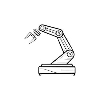 Robotic arm hand drawn outline doodle icon. industrial robot, robotic industry and technology, machine concept