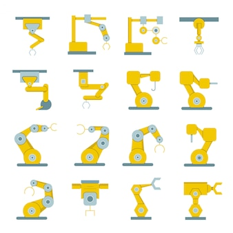 Robotic arm icons for manufacturing process elements