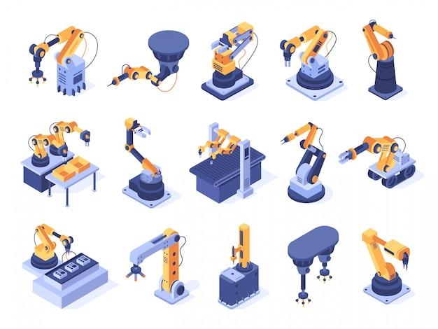 로봇 팔. 산업 공장 기계, 제조 자동화 및 생산 라인 로봇 암 세트