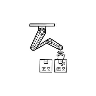 로봇 팔은 제조 과정에서 손으로 그린 윤곽선 낙서 아이콘에서 상자를 선택합니다. 생산 벨트, 공장 로봇. 인쇄, 웹, 모바일 및 흰색 배경에 인포 그래픽에 대한 벡터 스케치 그림.