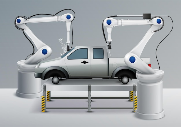 Robotic arm realistic illustration with car manufacture elements