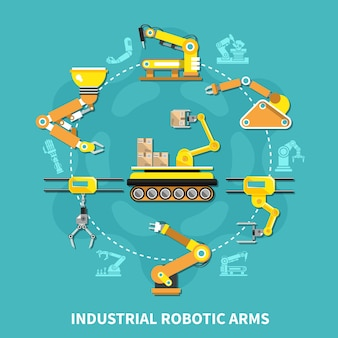 노란색 철제 팔이 원과 평면 스타일로 배열 된 로봇 팔 라운드 구성