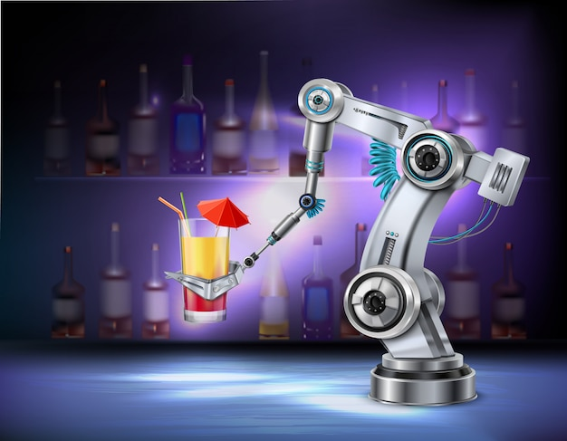 Robotic arm serving cocktail at bar cafe restaurant realistic composition with wine bottles in
