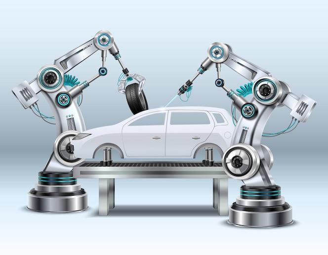 자동차 산업 현실적인 구성 근접 촬영 이미지에서 자동차 조립 라인 제조 공정에서 로봇 팔