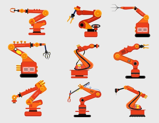 Набор роботизированного оружия. различные механические когти, производственные роботы, изолированные на белом. иллюстрации шаржа
