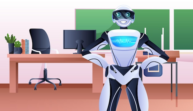 Роботизированный бизнесмен, стоящий в офисе, концепция технологии искусственного интеллекта