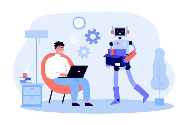 노트북에서 일하는 남자를 위한 문서를 운반하는 로봇 캐릭터. 기계적 지원 평면 벡터 일러스트 레이 션을 사용하는 남성 캐릭터. 현대 로봇, 기술, 인공 지능 개념