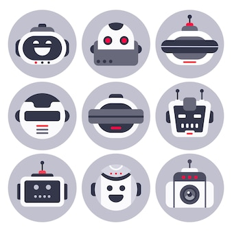 Robotic chatbot avatar, computer chat help bot robots and virtual assistant digital chatting bots isolated