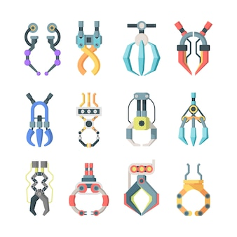 Robotic claws grips large set. technological mechanisms for transfer goods industrial scale arcade game hooks for prizes element equipment for precise work fun gambling entertainment.