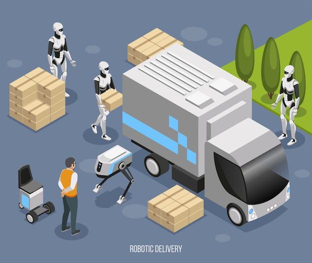Роботизированная система доставки изометрической композиции с симпатичными полностью автоматизированными гуманоидами, загружающими и разгружающими беспилотный грузовик.