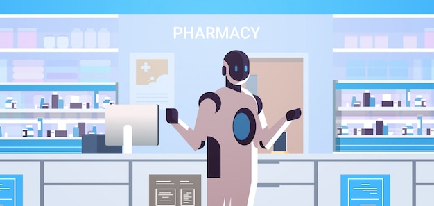 Robotic doctor pharmacist standing at pharmacy counter modern drugstore interior artificial intelligence technology medicine healthcare concept horizontal portrait