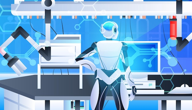 Robotic doctor surgeon in clinic surgery room medicine healthcare artificial intelligence technology concept horizontal portrait vector illustration