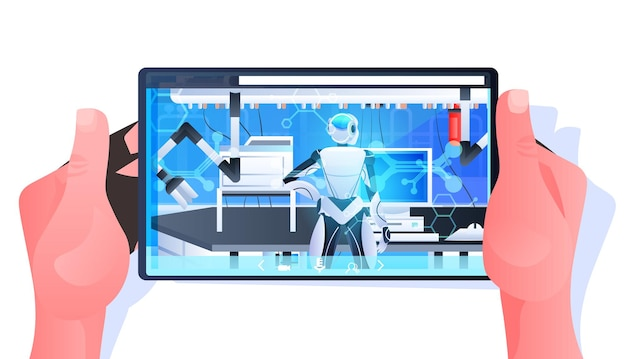 Robotic doctor surgeon in clinic surgery room medicine healthcare artificial intelligence technology concept