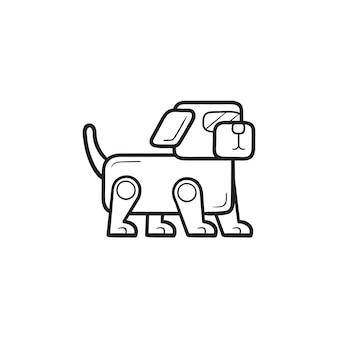 로봇 개 손으로 그린 개요 낙서 아이콘입니다. 벡터 일러스트 레이 션 화이트에 격리입니다. 로봇 공학, 자동 기계 개념입니다. 인쇄, 웹, 모바일 및 흰색 배경에 인포 그래픽에 대한 벡터 스케치 그림.