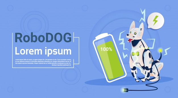 Robotic dog with full battery charge domestic animal modern robot pet artificial intelligence technology