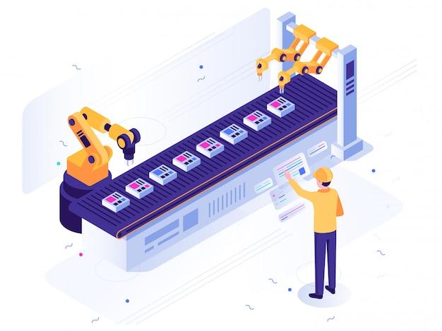 로봇 공장. 엔지니어는 로봇 컨베이어, 자동 로봇 팔 및 산업 제조 일러스트레이션을 운영합니다.