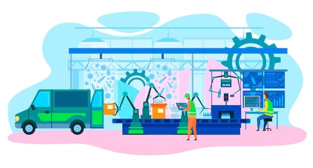 Robotic factory production line futuristic cartoon