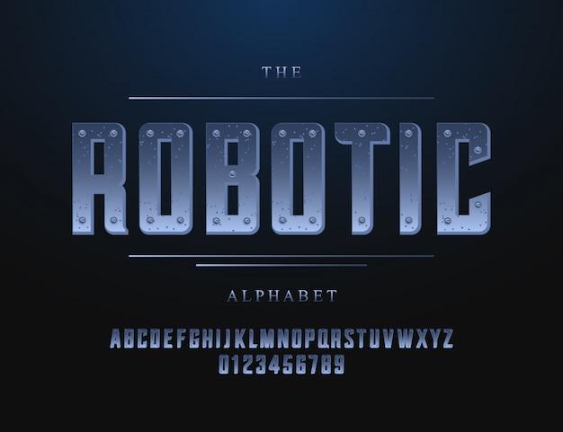 ロボットフォントとアルファベット。テクノロジー書体。