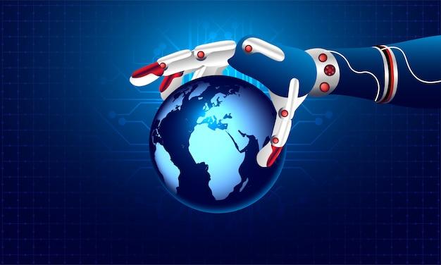 Robotic hand holding earth globe.