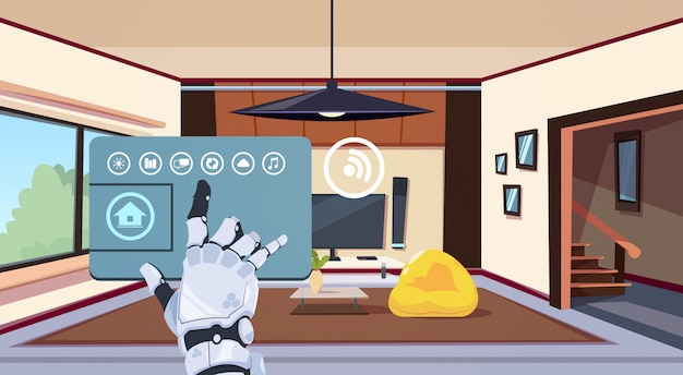 Robotic hand using smart home app of control system over living room background, technology of house automation concept