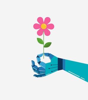 꽃, 벡터 배경, 배너 로봇 손