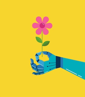 Robotic hand with a flower, illustration