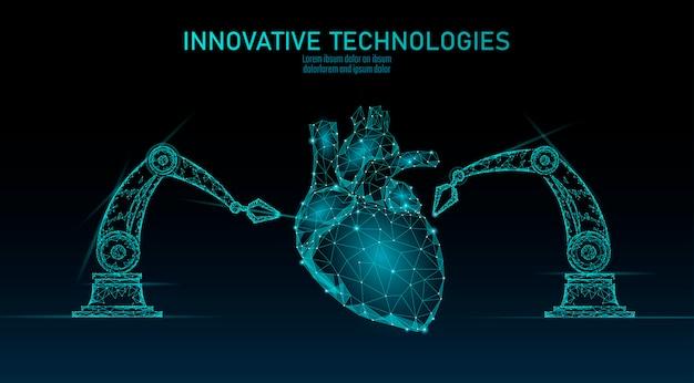 ロボット心臓手術低ポリ。多角形の心臓外科手術の手順。ロボットアームマニピュレーター。現代の革新的な医学科学自動化技術。三角形の3 dレンダリング形状図