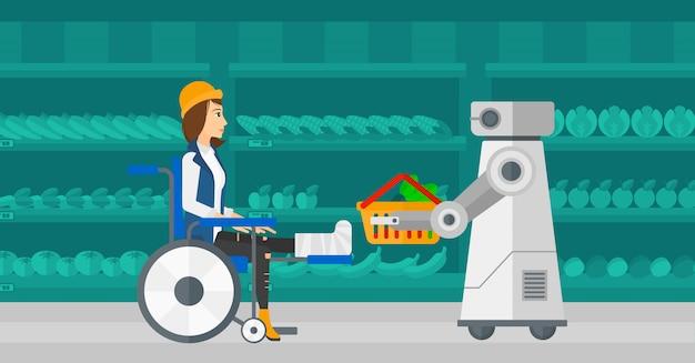 Robotic helper working in supermarket.