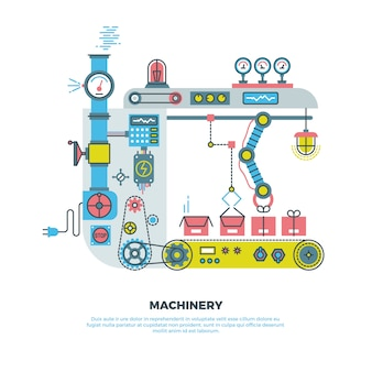 Robotic industrial abstract machine, machinery in  flat style