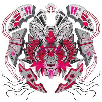 로고 gamig 팀 마스코트 로고 디자인을 위한 로봇 사자 메카와 현대적인 일러스트레이션 개념