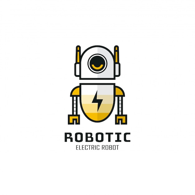 Robotic logo template design.   illustration. abstract robot web icons and   logo. robot logo that lacks energy.