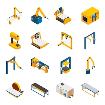 Robotic machinery icons set