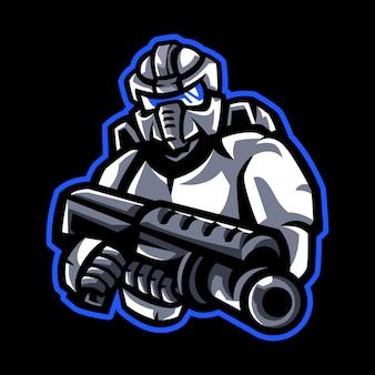 Robotic mascot logo