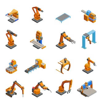 Robotic mechanical arm isometric icons set