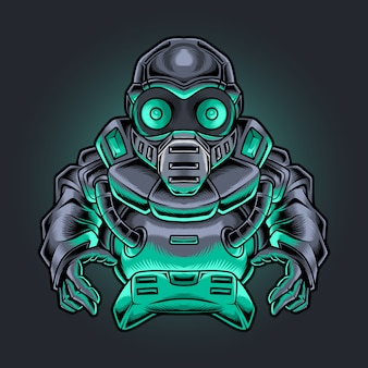 Robotic ninja gamer with joystick illustration