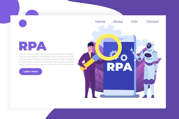 Robotic process automation concept, rpa. robot or chat bot helps people in  different  tasks.