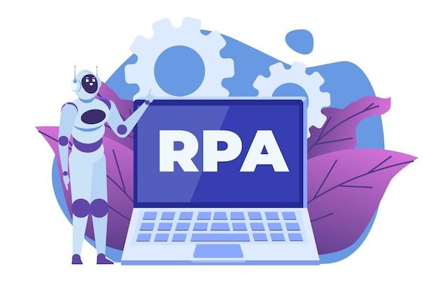 Концепция робототехники, rpa. робот или чат-бот помогает людям в разных задачах.