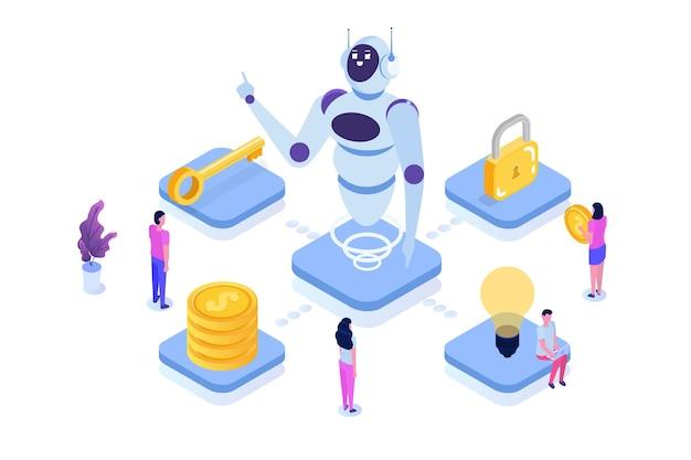 로봇 프로세스 자동화 개념, rpa. 로봇 또는 채팅 봇은 다른 작업에있는 사람들을 돕습니다.