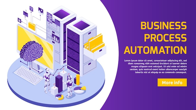 Robotic process automation with isometric illustration