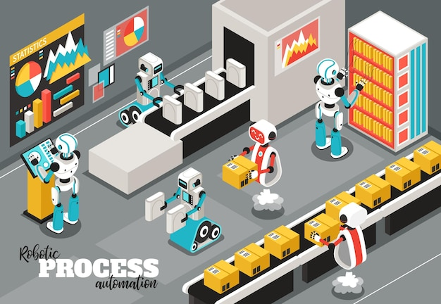 Robotic process isometric illustration with automation and reliability symbols