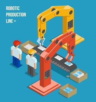 ロボット生産ライン。製造と機械、自動化とロボットと産業。ベクトルイラスト