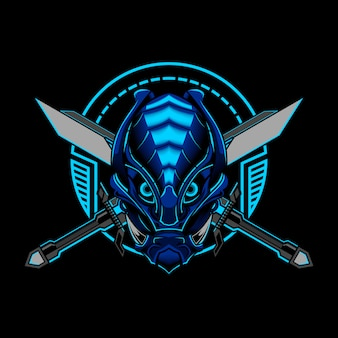 Robotic ronin samurai evil vector illustration