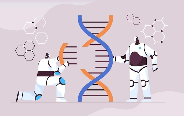 Dnaロボット研究者と協力して実験室で実験を行うロボット科学者遺伝子診断人工知能